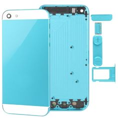[USD14.60] [EUR13.18] [GBP10.22] Full Housing Alloy Replacement Back Cover with Mute Button + Power Button + Volume Button + Nano SIM Card Tray for iPhone 5 (Baby Blue)(Blue)