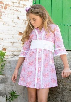 Vestido manga francesa. Precioso! ! Kids Girls, Little Girls, Dresses Kids Girl, Kids Fashion, Womens Fashion, Tween, Summer Dresses, Portugal, Clothes