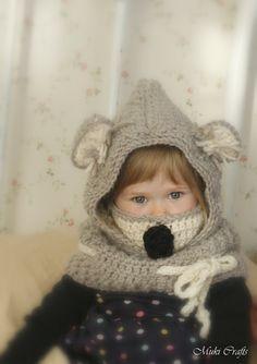 CROCHET PATTERN hooded cowl Koala bear with inner cowl