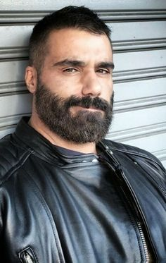Beautiful Men Faces, Gorgeous Men, Biker Leather, Leather Men, Beard Images, Mustache Styles, Leather Jackets For Sale, Beard Styles For Men, Awesome Beards