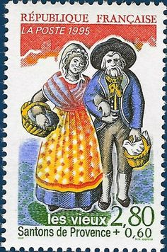 Les Vieux - The Old Couple.  Santon postage stamp.  Pinned by www.mygrowingtraditions.com