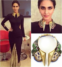 GET THIS LOOK: Vaani Kapoor looks stunning wearing the multicoloured jewelled collar from MANISH ARORA FOR AMRAPALI.   Shop at http://www.perniaspopupshop.com/designers-1/manish-arora-for-amrapali/manish-arora-for-amrapali-multicoloured-jewelled-collar-almc1013642.html