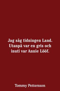 Jag såg tidningen Land. Utanpå var en gris och inuti var Annie Lööf.