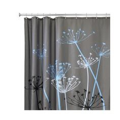 InterDesign Thistle Shower Curtain - Gray/Blue (72x72 Love!!!! with a set of black, blue, and white towels. a color for each of us?