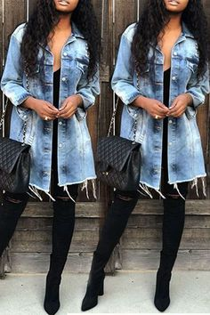 Lovely Casual Raw Edge Baby Blue Denim Coat We Miss Moda is a leading Women's Clothing Store. Offering the newest Fashion and Trending Styles. Long Denim Jacket, Jean Jacket Outfits, Denim On Denim Outfits, Denim Jeans, Denim Mantel, Denim Fashion, Fashion Outfits, Cheap Fashion, Fashion Clothes