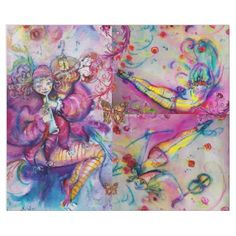 PINK MUSICAL CLOWNS BUTTERFLİES AND FLORAL SWIRLS WRAPPING PAPER - christmas wrappingpaper xmas diy holiday