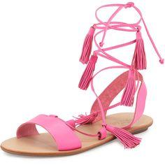 Loeffler Randall Saffron Leather Tassel Flat Sandal ($250) ❤ liked on Polyvore featuring shoes, sandals, neutral, flats sandals, leather lace up sandals, leather lace up flats, loeffler randall sandals and lace up flats