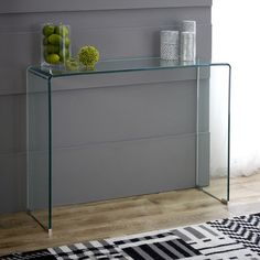 Geo-Glass Small Clear Glass Console Table