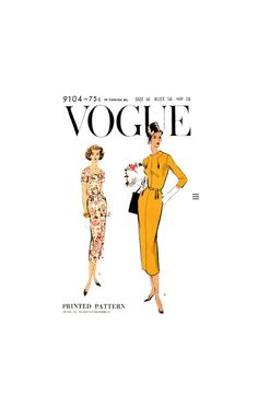 Dress with Slim Skirt, Shaped Neckline and Three Sleeve Lengths, Bust 36 Hip Vogue Vintage Sewing Pattern Reproduction Vogue Sewing Patterns, Vintage Sewing Patterns, 50s Dresses, One Piece Dress, Print Patterns, Neckline, Slim, Skirts, Sleeves