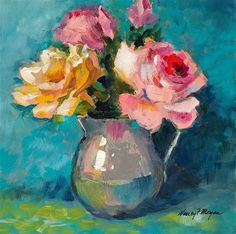 "Daily Paintworks - ""Sweet Roses"" - Original Fine Art for Sale - © Nancy F. Oil Painting Flowers, Watercolor Flowers, Floral Paintings, Mini Canvas Art, Painter Artist, Nancy Morgan, Arte Floral, Art Oil, Flower Art"