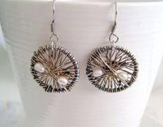 Women silver earrings with silver oxides & goldfilled by Viyoli, $25.00