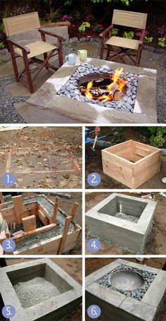 30 great DIY ideas to turn a few paving stones into a beautiful fire pit . - 30 great DIY ideas to cheaply build a nice fireplace from a few paving stones Fire pit backyard, Fi - Cheap Fire Pit, Diy Fire Pit, Fire Pit Backyard, Outdoor Fire, Outdoor Decor, Indoor Outdoor, Square Fire Pit, Concrete Fire Pits, Concrete Yard