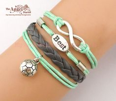 Infinity Wish Best Soccer Charm Bracelet Football Symbol Leather Braid Graduation