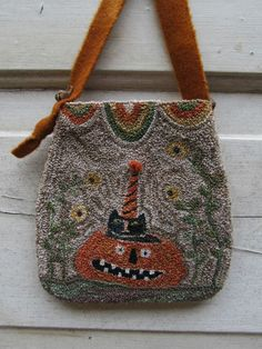 PRIMITIVE PUNCH NEEDLE~HALLOWEEN~CAT~JACK-O-LANTERN~POUCH...this is a Russian craft. I have done some, of this type of needle work with original small needles, it is easy to learn and creating  is beautiful..