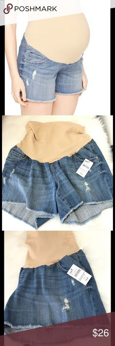 """🆕 Oh Baby by Motherhood Plus Size Jean Shorts These jeans shorts by Oh Baby feature a destructed detail and frayed hems for a worn-in look. 5-Pocket. stretchy denim construction. Secret fit belly panel. Faux fly. Cotton/Spandex. Color: Light wash. Oh baby size chart: 2X ( 22-24) hips 50-51"""". Please order pre-pregnancy size. Brand new with tags. Oh Baby by Motherhood Shorts Jean Shorts"""
