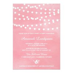 "Fairy Lights Pink Sweet Sixteen Party Invitation 5"" X 7"" Invitation Card"
