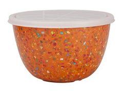 Orange Confetti Serving Bowl with Lid