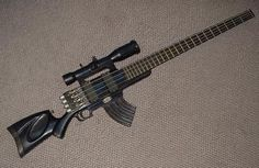 Machine gun bass guitar.   I would have been all about this years ago when I played in a metal band!