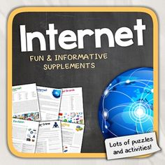 Lets learn about the Internet!This worksheet aims to help kids acquiring the vocabulary, understanding and use of the world wide web. This NO PREP printable contains of 10 pages including an answer sheet.Overview: Page 1: What is the Internet?Page 2: Internet TermsPage 3: Internet Vocabulary QuizPage 4: Exercises about the InternetPage 5: Internet Brands (Word Search)Page 6: Chatting AcronymsPage 7: Cyber CrimePage 8: Are you addicted to the Internet? (Test)Page 9: Revision (Puzzles)Page 10…
