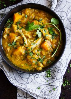 This curried butternut squash, lentil, and chicken stew is a warm and comforting one pot dinner that's dairy-free, gluten-free, low-fat and delicious