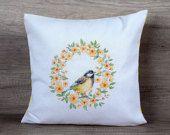 Spring wreath, bird décor, cross-stitch embroidery, yellow pillow, decorative pillow cover, spring mood. 16 x 16 pillow, 40 x 40 pillowcase
