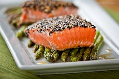 Healthy... And delicious looking... I like the whole salmon-on-top-of-asparagus fancy look.