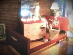 BEDROOM Set, Furniture, Vintage, Painted Furniture, Distressed, Hand Painted, RED, Chalk Paint by GypsySoulChalkPaints on Etsy