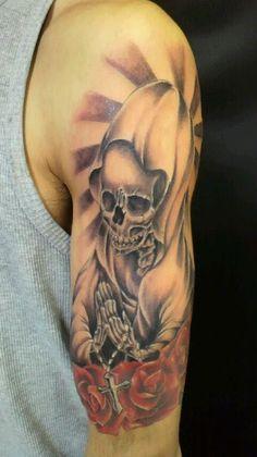 肩,スカル,薔薇タトゥー/刺青デザイン画像