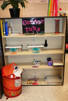 Our center tubs shelf. Independent activities to use for those who are done early. Drawing games, magnetic shapes, tanagrams, white boards, sea shells to draw/inspect. I often rotate things out and bring new items in.