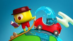 Great Character Design and Toylike red Car from Estudio Ronda, Dia de la Tierra. Such Fun & Games with Creative Characters! Via Discovery Kids on Behance Cute Characters, Disney Characters, Fictional Characters, 3d Character, Character Design, Transportation Activities, Co Design, Designer Toys, Fun Games