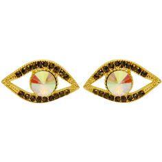 Lucky Evil Eye Stud Earrings with Rhinestones in Gold Tone