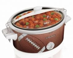 Hamilton Beach Stay or Go 6 Qt. Football Slow Cooker - 33266 - Your slow cooker is just as likely to be used on the road as it is at home. That's why Stay or Go Slow Cookers feature a clip-locked secure lid and tight seal for spill-resistant travel. Slow Cooking, Specialty Appliances, Kitchen Appliances, Kitchen Gadgets, Hamilton Beach Slow Cooker, Super Bowl Sunday, Appetizers For Party, Creative Food