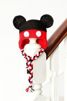 Free Crochet Pattern - Kids animal beanie cap - - Earflap Mickey Mouse Hat