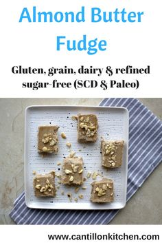 """""""Creamy"""" yet healthy almond butter vanilla fudge to enjoy without the guilt! Free from: gluten, grains, dairy & refined sugar. Paleo & SCD-friendly too. Vanilla Fudge, Vegetarian Paleo, Almond Butter, Coconut Milk, Sugar Free, Grains, Dairy, Gluten, Snacks"""