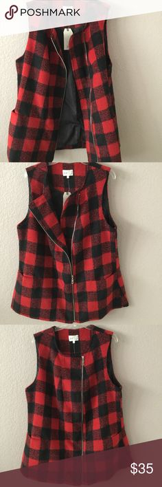 "Jolt plaid sleeveless jacket I first need to apologize that my pictures do not do justice to this addddorable vest, or sleeveless coat.  It is pretty much thick like a coat, but since it is sleeveless, it allows layering and matching with different pieces.  I also love the pockets and the slightly off center  zipper.  Looks great zipped all the way up, half zipped, or unzipped for a more drapey effect.  At low end of sleeve opening, bust is 46"" (seems huge, but this looks best with room)…"