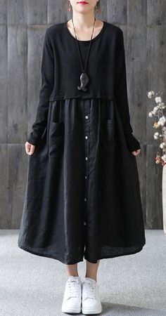 cotton Tunic Omychic Cotton Solid Spliced Female Long Sleeve Black Dress – Linen Dresses For Women Hijab Fashion, Boho Fashion, Fashion Dresses, Womens Fashion, Fashion 2018, Fall Fashion, Fashion Ideas, Linen Dresses, Cotton Dresses