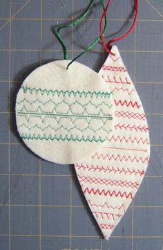 Sewing machine stitch sampler ornaments - maybe make stuffed versions, too?