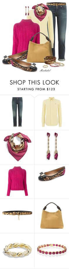 """Out for Coffee - Magenta Sweater & Ferragamo Flats (96)"" by mischabel ❤ liked on Polyvore featuring 7 For All Mankind, Polo Ralph Lauren, Burberry, Oscar de la Renta, Cacharel, Salvatore Ferragamo, Yves Saint Laurent, Loewe, David Yurman and Effy Jewelry"