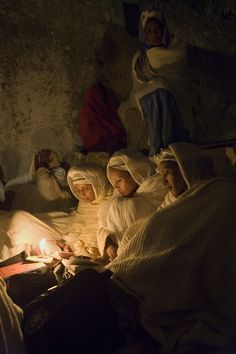 Ethiopian pilgrims pray at the monastery of Deir al-Sultan, built over 1,000 years ago on the roof above the church of the Holy Sepulchre