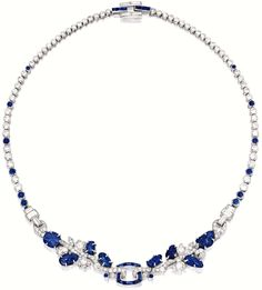 Late Art Deco sapphire and diamond necklace by Cartier, circa 1930.