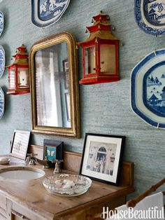 Powder room! LOVE the Blue Canton china and the red lanterns!! Seagrass grass cloth by Phillip Jeffries.