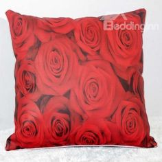 New Arrival Beautiful Red Rose Flowers Print Throw Pillowcase  @bedding inn