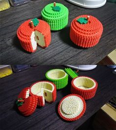 Les plus belles dinettes en et en Hama apple beads trinket container Hama Beads 3d, Diy Perler Beads, Perler Bead Art, Fuse Beads, Perler Bead Designs, Hama Beads Design, Pearler Bead Patterns, Perler Patterns, Pyssla Pokemon