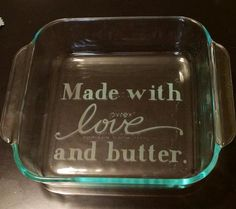 Custom etched 8x8 glass baking dish by ClearCutCreationsFL on Etsy