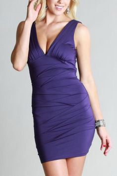 Glam grape fitted body con dress. Deep v neck front and back. Look slim and sexy dancing the night away in this cute little number. Has just the right amount of stretch to hug your curves. Dry clean.   Deep V-Neck Dress by Glitz & Glam Boutique. Clothing - Dresses - Formal Clothing - Dresses - Night Out Clothing - Dresses - Wedding Wear Florida