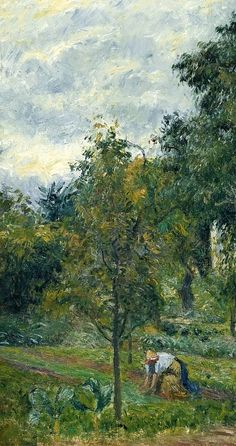 """Camille Pissarro (1830-1903) ~ """"La """"Maison Rondest"""" et son jardin à L'Hermitage, Pontoise"""", 1878 (Détail) ~ Huile sur Toile"""