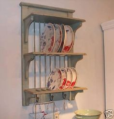 Green/ Grey Shabby Chic Painted Kitchen Plate Rack. Www.mulberry-moon.co.uk