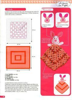 """Photo from album """"Crochet mantas de apego on Yandex. Crochet Bib, Crochet Octopus, Crochet Doll Pattern, Crochet Blanket Patterns, Baby Blanket Crochet, Crochet Toys, Free Crochet, Diy Crafts Knitting, Diy Crafts Crochet"""