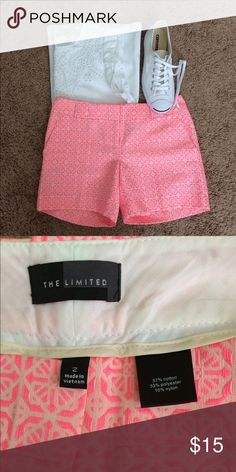 "NWOT: Hot pink patterned shorts by the Limited Size 2 (30"" waist, 5"" inseam), hot pink, patterned shorts by the Limited, cotton/polyester/nylon, fun pattern and color, easy to dress up or down this summer! The Limited Shorts"