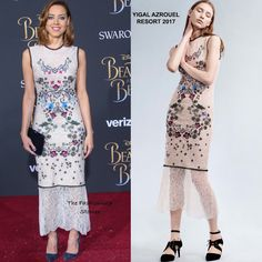 Aubrey Plaza in Yigal Azrouel Resort 2017 at the 'Beauty and The Beast' LA Premiere